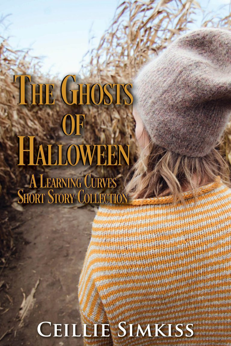 "A light skinned woman faces away from the camera, looking down a row of dried cornstalks. It is daytime. She has shoulder-length wavy blonde hair, a light brown beanie, and a yellow and white striped sweater. The title reads ""The Ghosts of Halloween"" and under it are the words ""A Learning Curves Short Story Collection"" in an all caps, yellow serif font. The author's name, Ceillie Simkiss, is at the bottom in white."